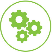 legal practice management - image of three green cogs